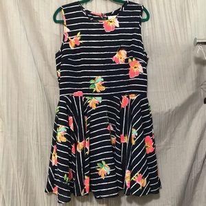Striped Floral Skater Dress
